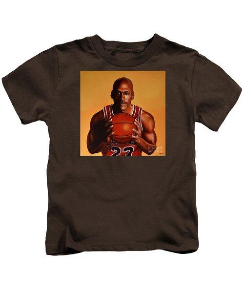 Michael Jordan 2 Kids T-Shirt by Paul Meijering