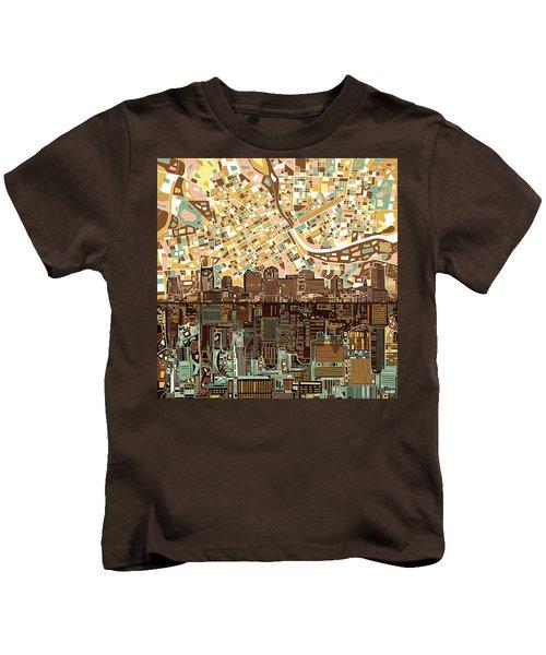Nashville Skyline Abstract 4 Kids T-Shirt by Bekim Art