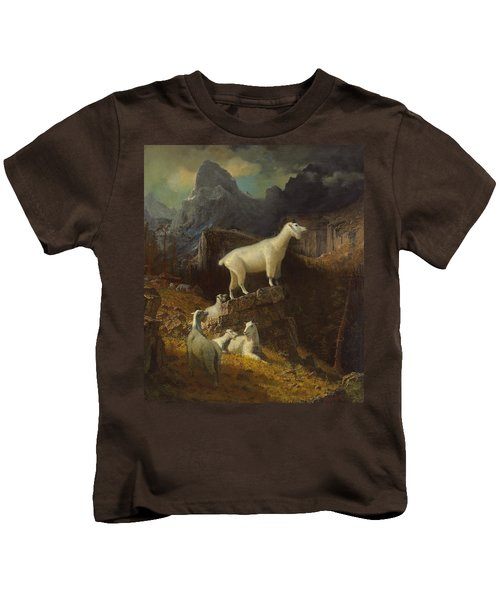 Rocky Mountain Goats Kids T-Shirt by Albert Bierstadt