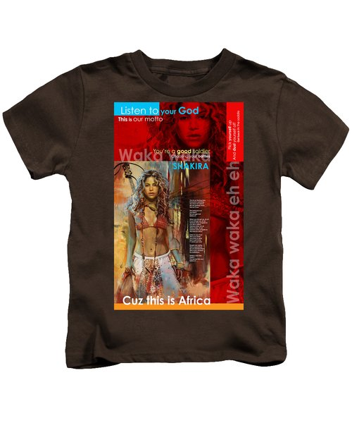 Shakira Art Poster Kids T-Shirt by Corporate Art Task Force