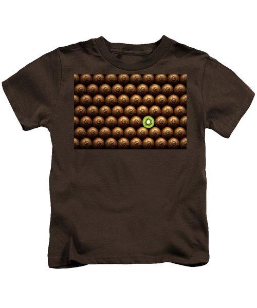 Sliced Kiwi Between Group Kids T-Shirt by Johan Swanepoel