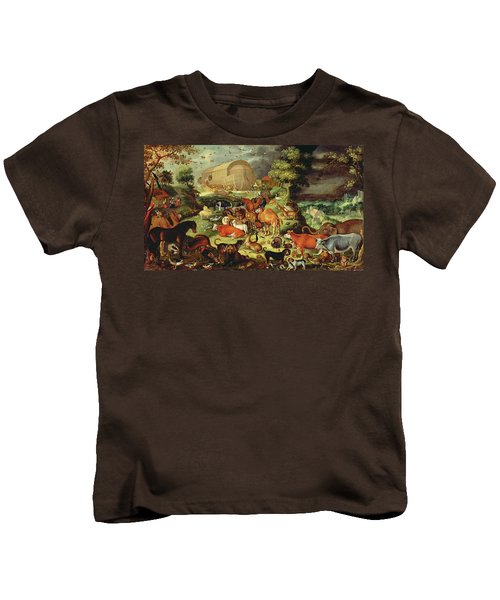 The Animals Entering The Ark Kids T-Shirt by Jacob II Savery