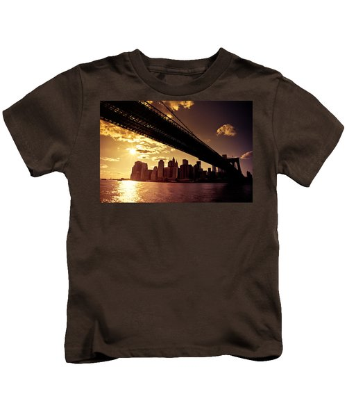 The New York City Skyline - Sunset Kids T-Shirt