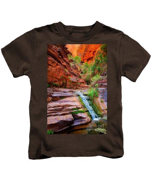 Upper Elves Chasm Cascade Kids T-Shirt by Inge Johnsson