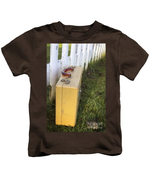 Vintage Luggage Left By A White Picket Fence Kids T-Shirt
