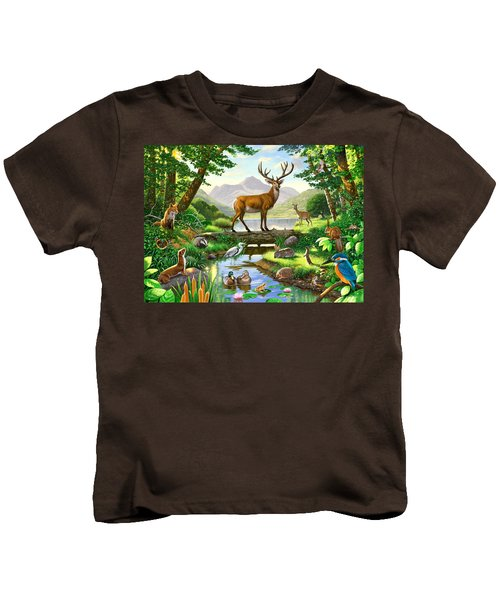 Woodland Harmony Kids T-Shirt by Chris Heitt