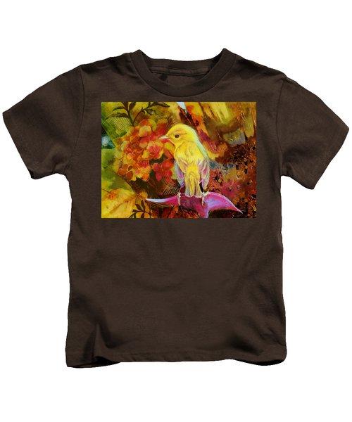 Yellow Bird Kids T-Shirt by Catf