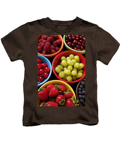 Bowls Of Fruit Kids T-Shirt by Garry Gay