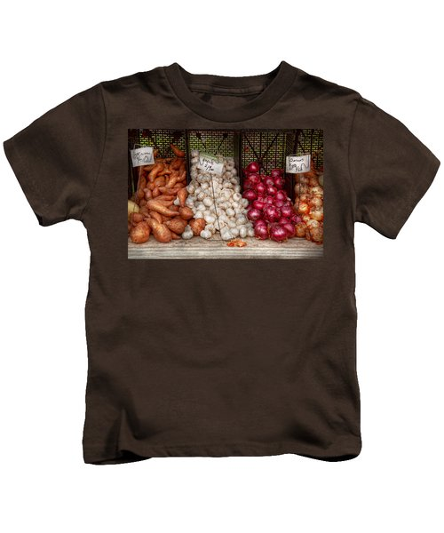 Food - Vegetable - Sweet Potatoes-garlic- And Onions - Yum  Kids T-Shirt by Mike Savad