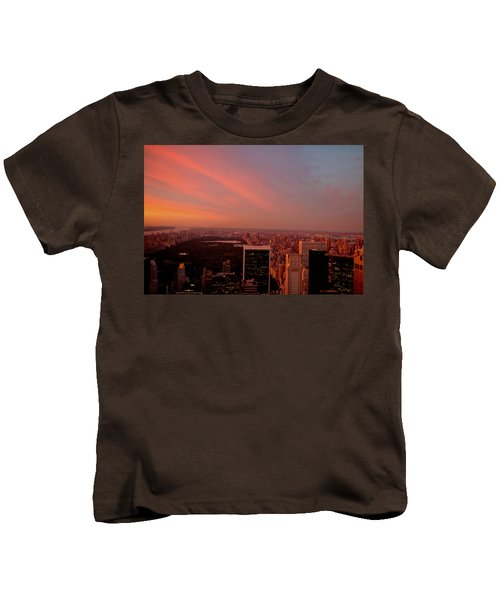 Sunset Over Central Park And The New York City Skyline Kids T-Shirt