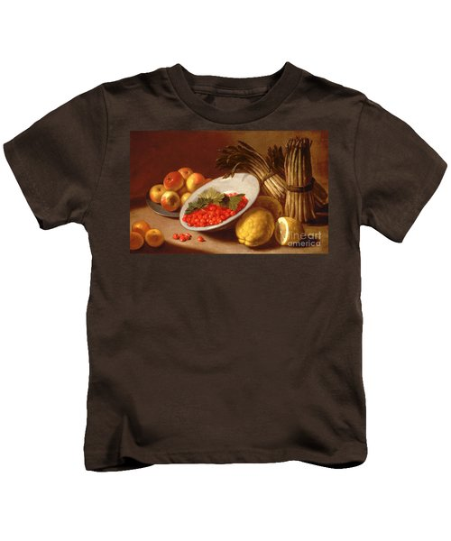 Still Life Of Raspberries Lemons And Asparagus  Kids T-Shirt by Italian School