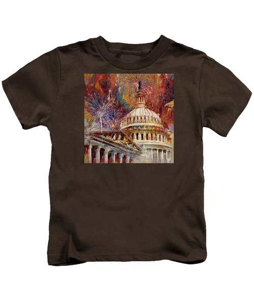 070 United States Capitol Building - Us Independence Day Celebration Fireworks Kids T-Shirt by Maryam Mughal