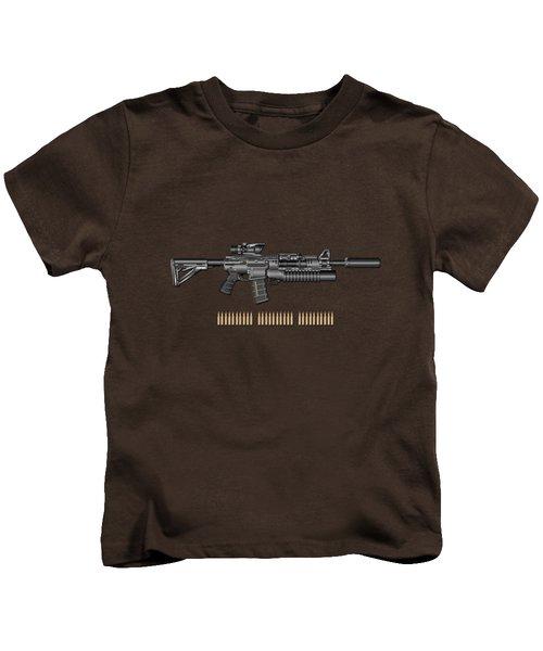 Colt  M 4 A 1  S O P M O D Carbine With 5.56 N A T O Rounds On Red Velvet  Kids T-Shirt by Serge Averbukh
