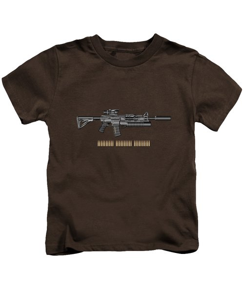 Colt  M 4 A 1  S O P M O D Carbine With 5.56 N A T O Rounds On Red Velvet  Kids T-Shirt