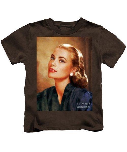 Grace Kelly, Actress And Princess Kids T-Shirt by Mary Bassett