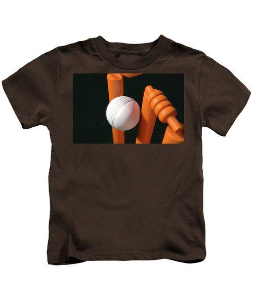 Cricket Ball Hitting Wickets Kids T-Shirt