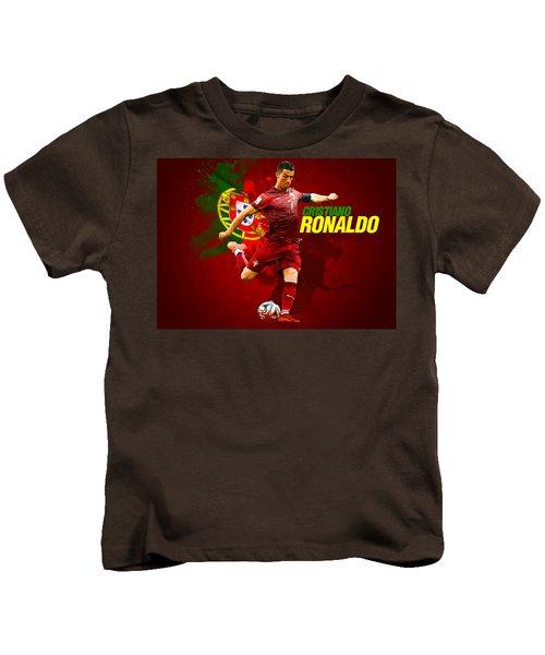 Cristiano Ronaldo Kids T-Shirt by Semih Yurdabak