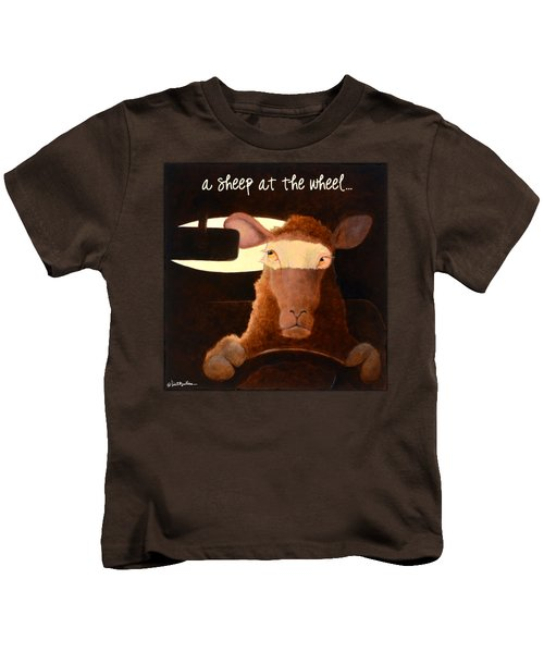 A Sheep At The Wheel... Kids T-Shirt by Will Bullas