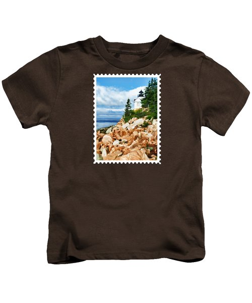 Acadia Bass Harbor Head Lighthouse On Mt Desert Island Maine Kids T-Shirt