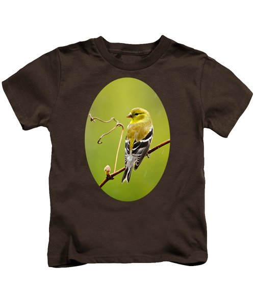 American Goldfinch In The Rain Kids T-Shirt by Christina Rollo