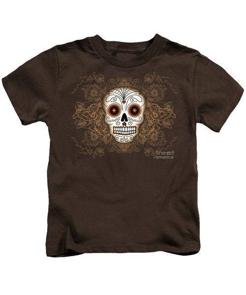 Vintage Sugar Skull Kids T-Shirt by Tammy Wetzel