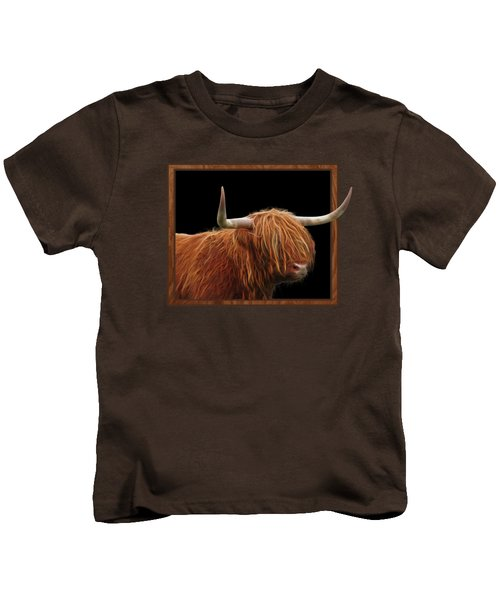 Bad Hair Day - Highland Cow Square Kids T-Shirt by Gill Billington