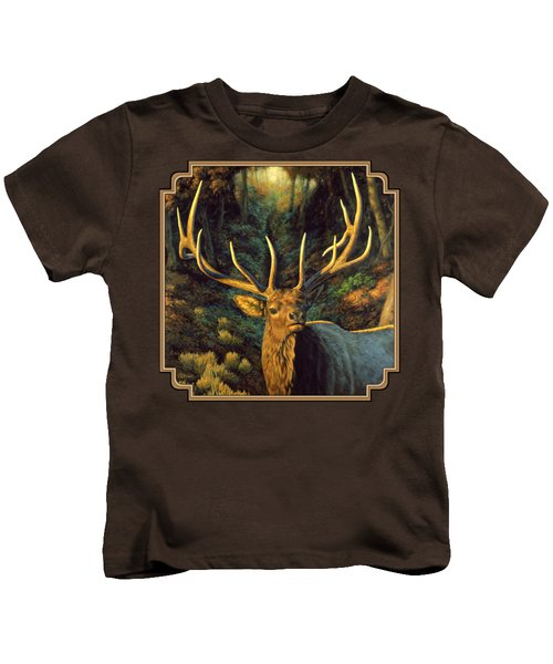 Elk Painting - Autumn Majesty Kids T-Shirt by Crista Forest