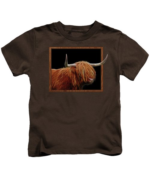 Bad Hair Day - Highland Cow - On Black Kids T-Shirt by Gill Billington