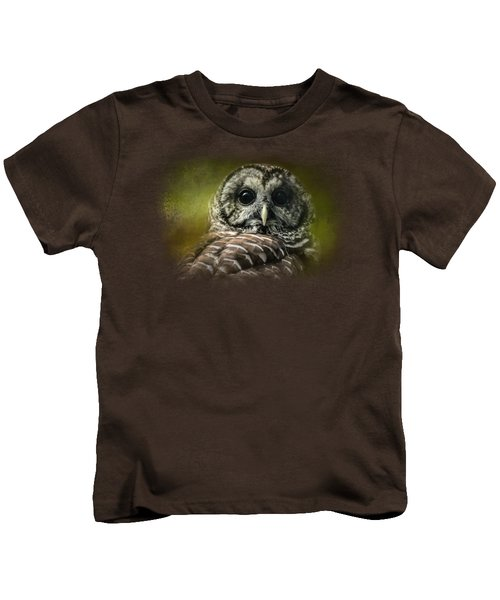 Barred Owl In The Grove Kids T-Shirt by Jai Johnson