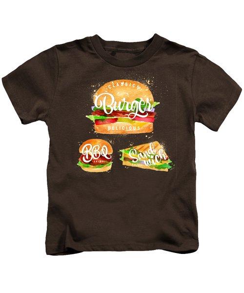 Black Burger Kids T-Shirt by Aloke Creative Store