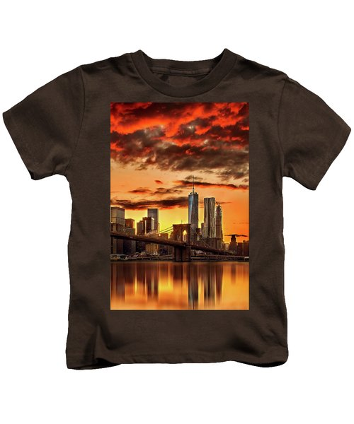 Blazing Manhattan Skyline Kids T-Shirt by Az Jackson