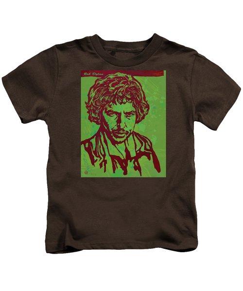 Bob Dylan Pop Art Poser Kids T-Shirt by Kim Wang