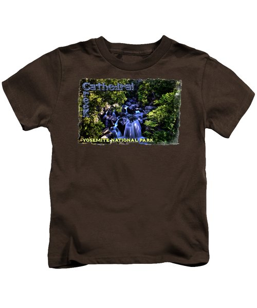 Cathedral Creek Cascade On The Tioga Pass Kids T-Shirt