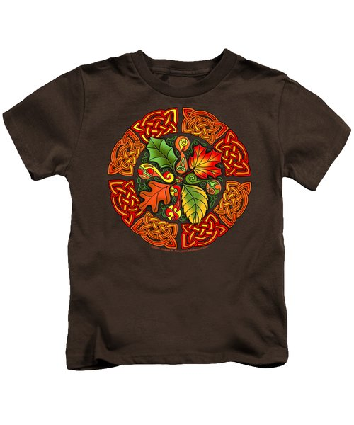 Celtic Autumn Leaves Kids T-Shirt by Kristen Fox