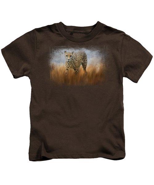 Cheetah In The Field Kids T-Shirt by Jai Johnson