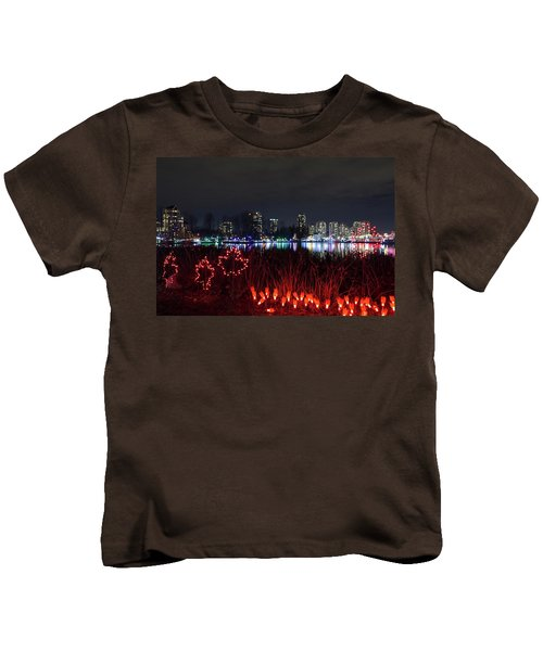 Christmas Lights At Lafarge Lake In City Of Coquitlam Kids T-Shirt