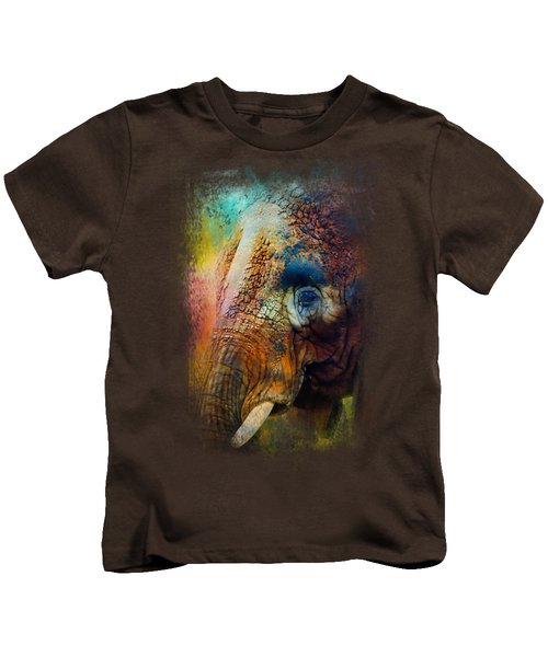 Colorful Expressions Elephant Kids T-Shirt by Jai Johnson