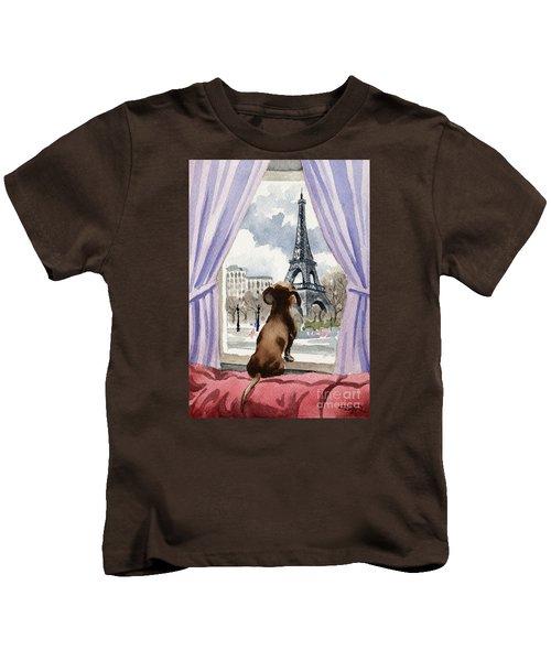 Dachshund In Paris Kids T-Shirt