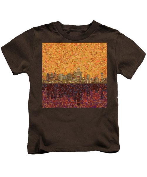 Dallas Skyline Abstract Kids T-Shirt