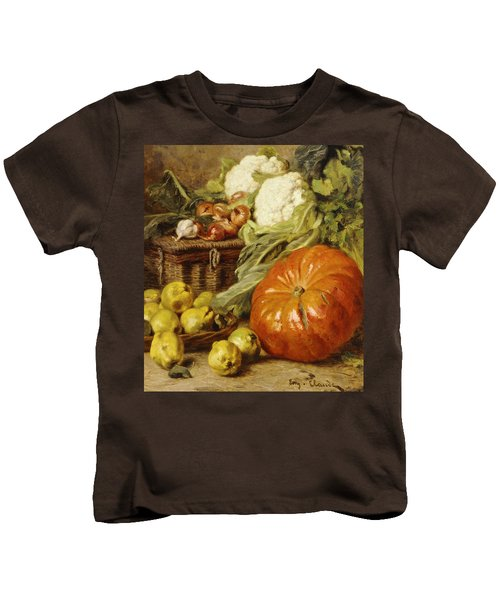 Detail Of A Still Life With A Basket, Pears, Onions, Cauliflowers, Cabbages, Garlic And A Pumpkin Kids T-Shirt by Eugene Claude