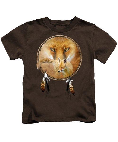 Dream Catcher- Spirit Of The Red Fox Kids T-Shirt by Carol Cavalaris