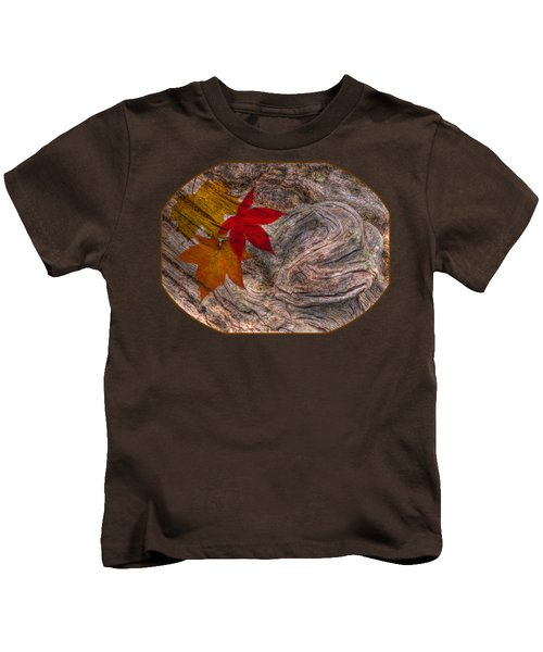 Drifting Autumn Leaves Kids T-Shirt by Gill Billington