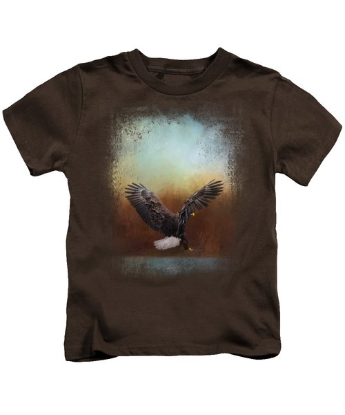 Eagle Hunting In The Marsh Kids T-Shirt by Jai Johnson