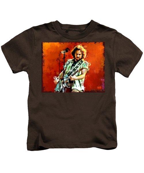 Eddie Vedder Painting Kids T-Shirt by Scott Wallace