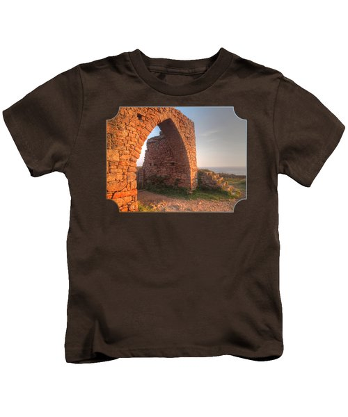Evening Light On Grosnez Castle Ruins Jersey Kids T-Shirt by Gill Billington