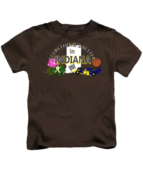 Everything's Better In Indiana Kids T-Shirt by Pharris Art