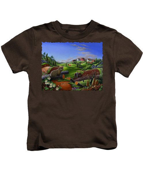 Farm Folk Art - Groundhog Spring Appalachia Landscape - Rural Country Americana - Woodchuck Kids T-Shirt