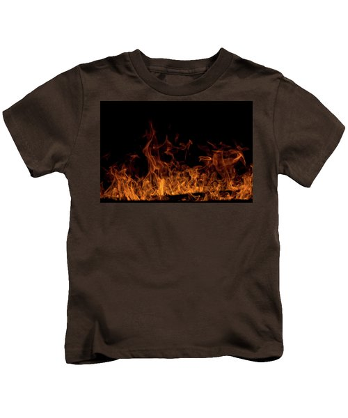 Fireplace Flames On Black Background Kids T-Shirt