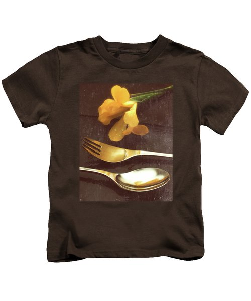 Flowers On Slate Variation 3 Kids T-Shirt by Jon Delorme