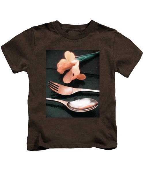Flowers On Slate Variation 4 Kids T-Shirt by Jon Delorme
